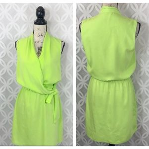 Tahari Lime Green Faux Wrap Sleeveless Dress